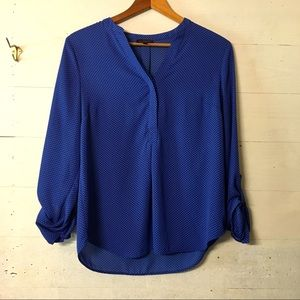 4/$25 The Limited Blue Polk Dot Blouse